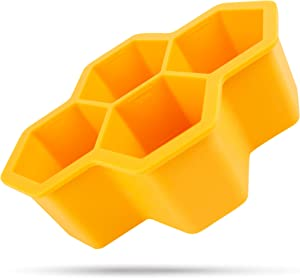 Silicone Freezing Tray with Lid | Large Hexagonal Ice Cube Trays - Maker Mold Ideal for Soup, Sauce, Meal Prep, Food Storage Containers | Microwave Safe Containers with Lid - Orange(4 CUPS)
