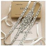 Yanstar Thin Full Length Wedding Bridal Belts Sash Silver Crystal Rhinestone Pearl Ivory Ribbon Belt for Bridesmaid Prom Dress
