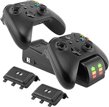 Ponkor - Estación de carga para Xbox One con dos cargadores de base de carga y 2