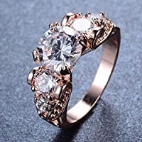 jindarat Size 5-9 White Sapphire 5 Gem Engagement Ring 10KT Rose Gold Filled Wedding Band (7)