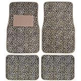 BDK Universal Fit 4-Piece Safari Animal Print Carpeted Mat - (Cheetah)