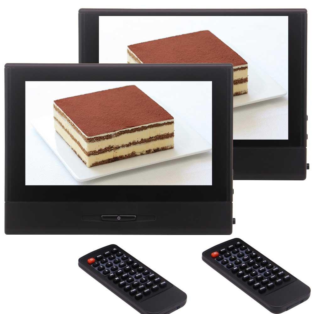 USB IR FMトランスミッターリモコンサポート1080Pビデオプレーヤーワイヤレスヘッドフォン付き2PCS 8インチHDモニターカーヘッドレストカーDVDプレーヤー B078884BJD