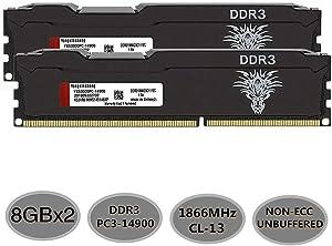 Yongxinsheng DDR3 RAM (8GBx2) 16GB Kit 1866MHz Desktop Memory UDIMM (PC3-14900) CL13 240Pin 1.5V Non-ECC Unbuffered Computer Stick Upgrade Module