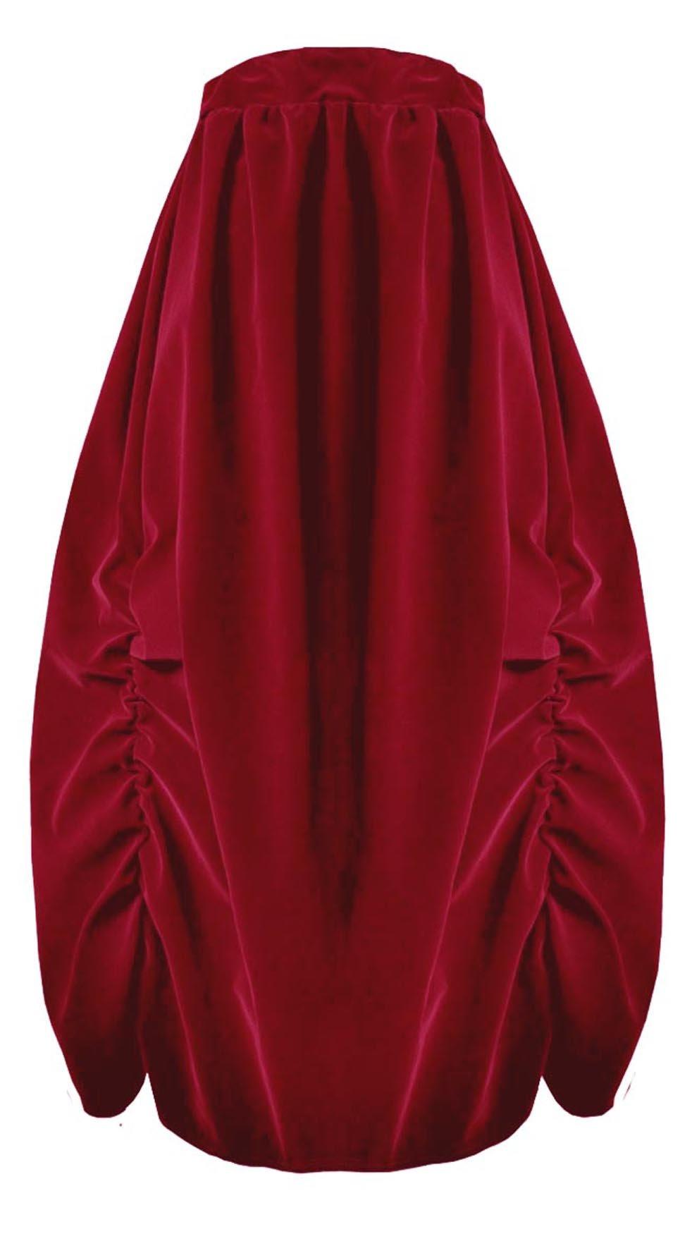 Victorian Valentine Steampunk Gothic Civil War Velvet Bustle Skirt (Red)