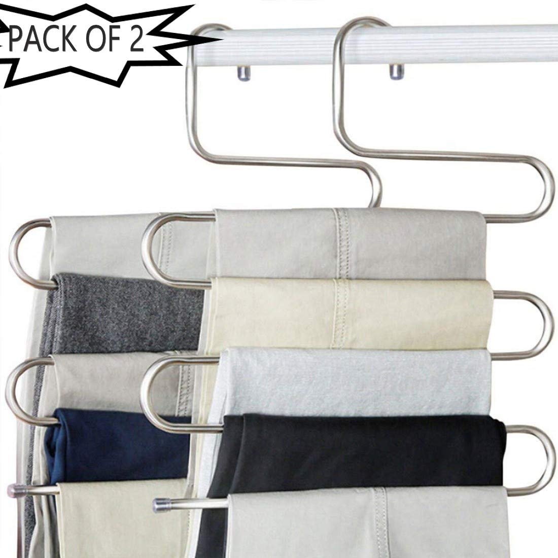 OxbOw Pants Hangers Non Slip Updated S-Shaped 5 Layers Hangers Closet Space Saver for Jeans Scarf Tie Clothes (2)