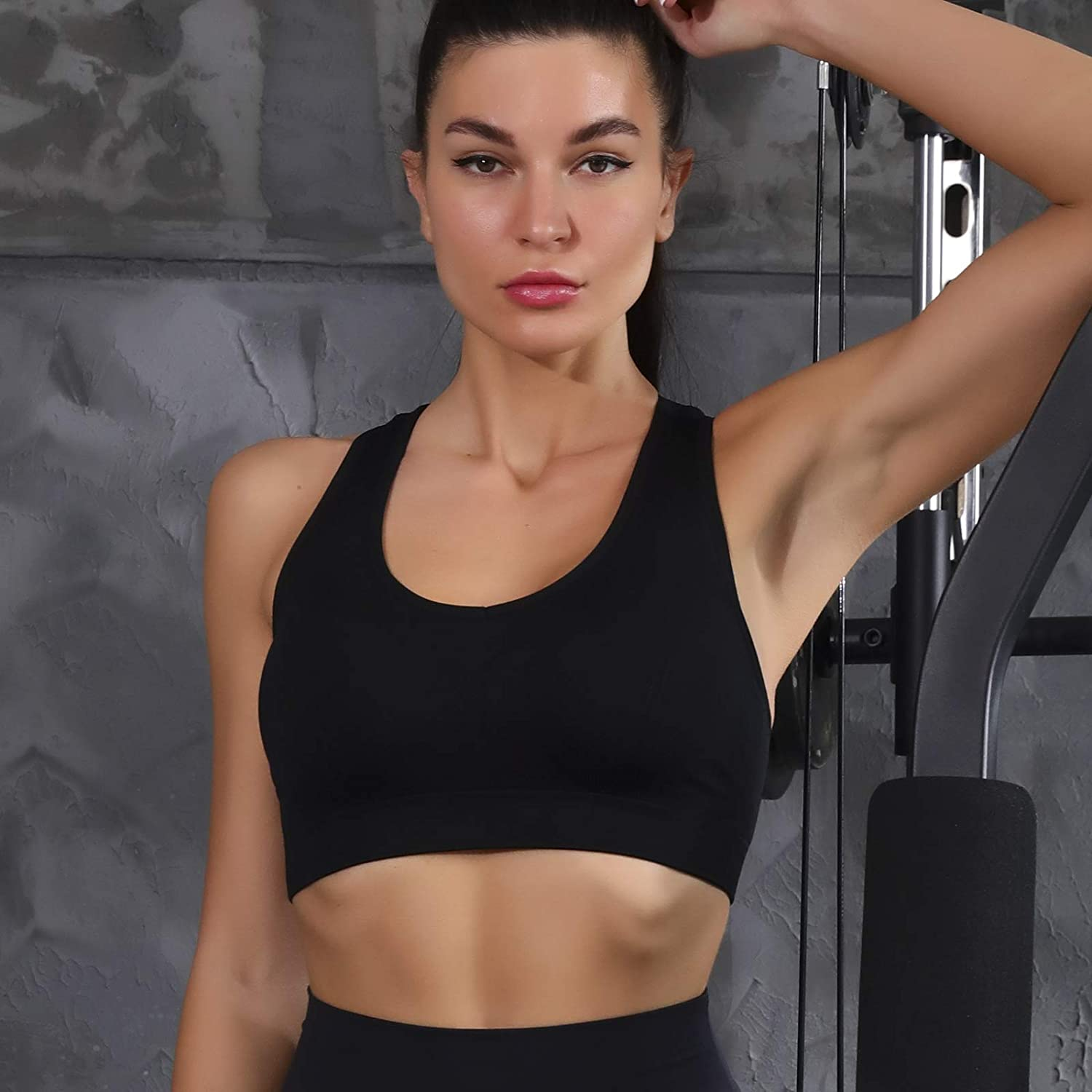 Women Seamless Padded Strappy Sports Bra Yoga Fitness Running Sportswear top at  Women's Clothing store