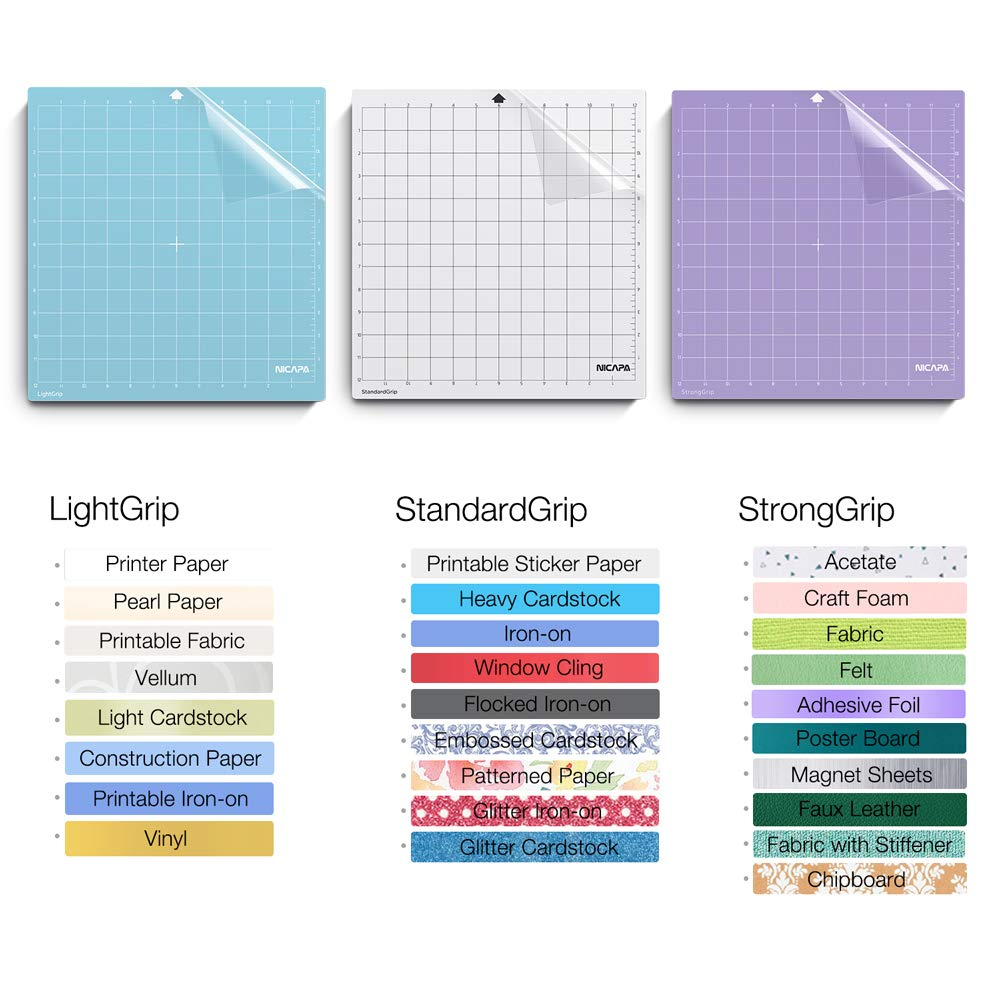 Nicapa Replacement Cutting Mat for Silhouette(12x12 inch 3pack-Standardgrip、Lightgrip、Stronggrip) Adhesive&Sticky Non-Slip Flexible Square Gridded Cut Mats Set Matts Vinyl Craft Sewing Cloth by NICAPA (Image #3)