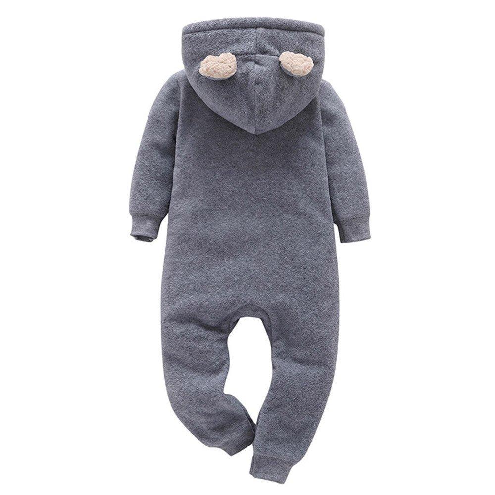 Sunenjoy B/éb/é Gar/çons Filles Plus Chaud Cerf Imprimer Hooded Barboteuse Combinaison Tenue V/êtements pour Enfant 0-24 Mois