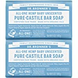 Dr. Bronner's - Pure-Castile Bar Soap (Baby Unscented, 5 ounce, 2-Pack) - Made with Organic Oils, For Face, Body and…