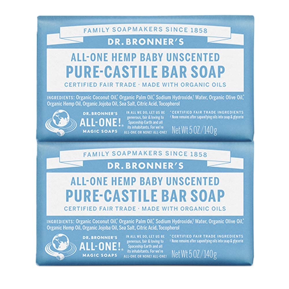 Dr. Bronner's - Pure-Castile Bar Soap (Baby Unscented, 5 ounce, 2-Pack) - Made with Organic Oils, For Face, Body and Hair, Gentle for Sensitive Skin and Babies, No Added Fragrance, Biodegradable