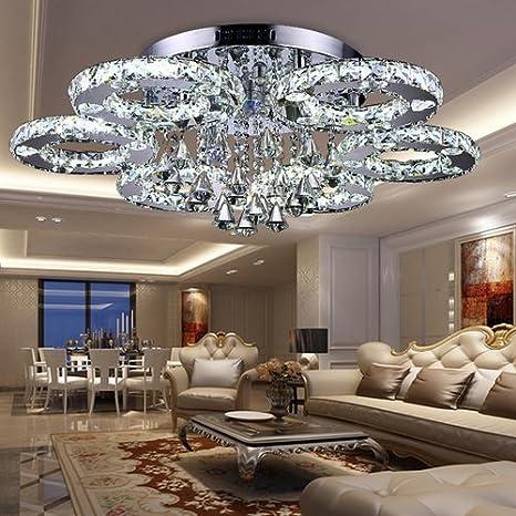 fsders VINGO 88W LED Kristall Deckenleuchte Deckenlampe Modern Kronleuchter  Pendelleuchte Hängeleuchte Energie Sparen einstellbar für Wohnzimmer ...