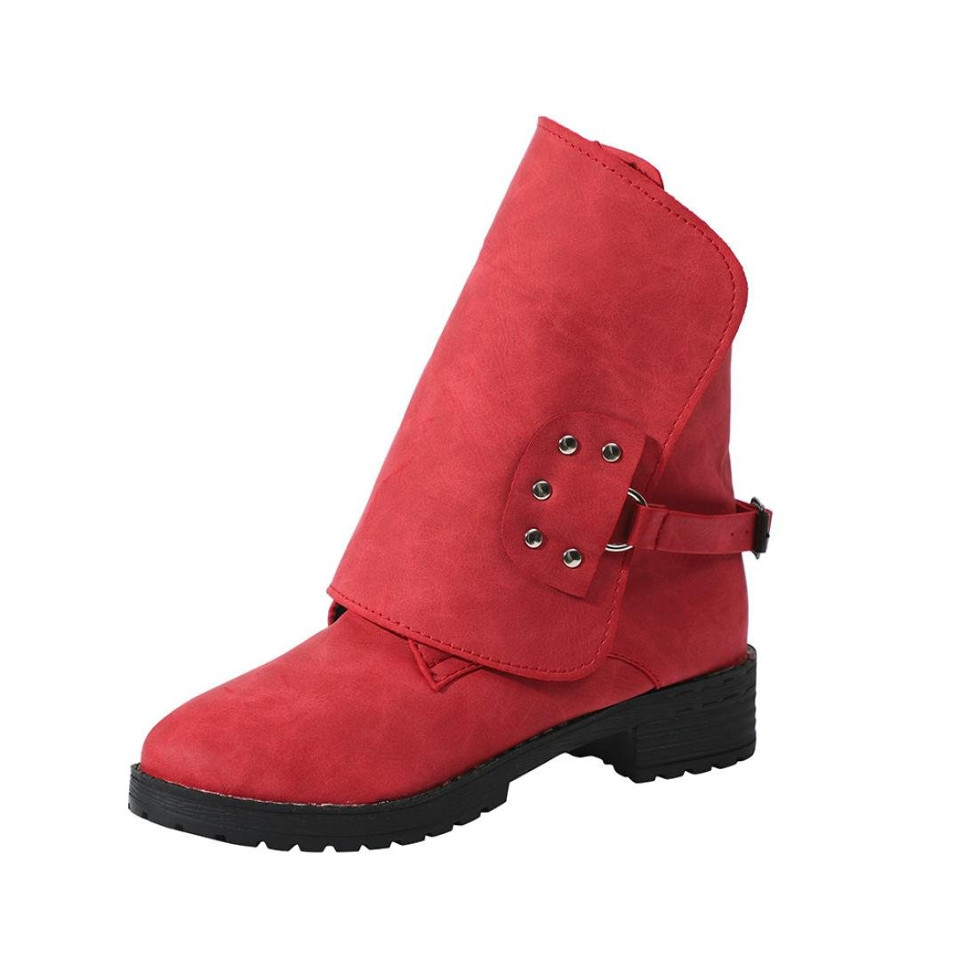 2018 Womens Ankle Boots,Fashion Leather Cowgirls Martin Booties Size 5-9 (Red, US:7)