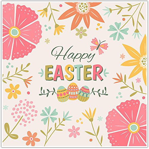 Happy Easter Floral Poster Wall Art Decor -