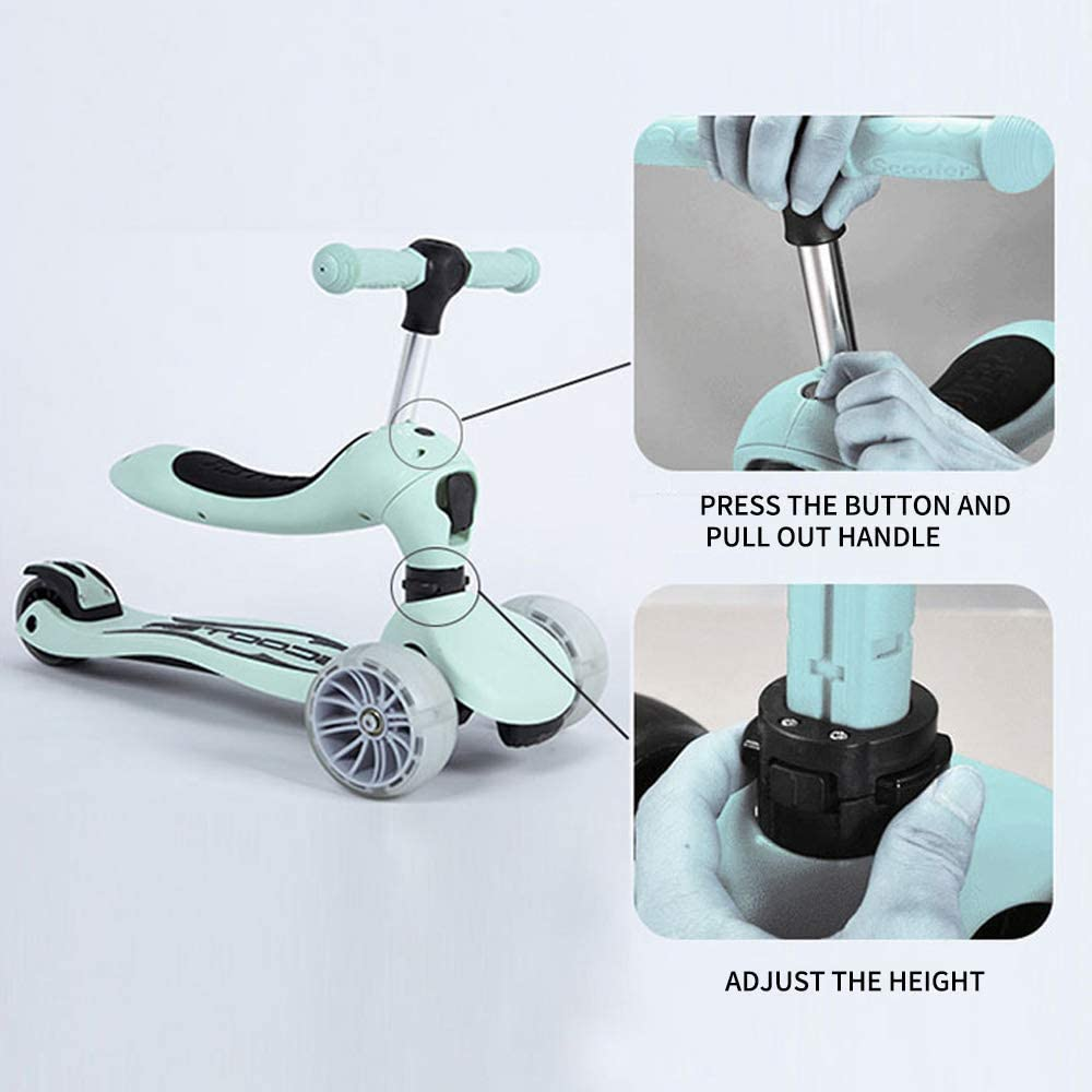 2 in 1 Scooter for Kids with Folding Seats Removable /& Adjustable 3 Wheels Mini Kick Scooter with Light for Girls /& Boys Toddlers Ages 2 Years or Older Green