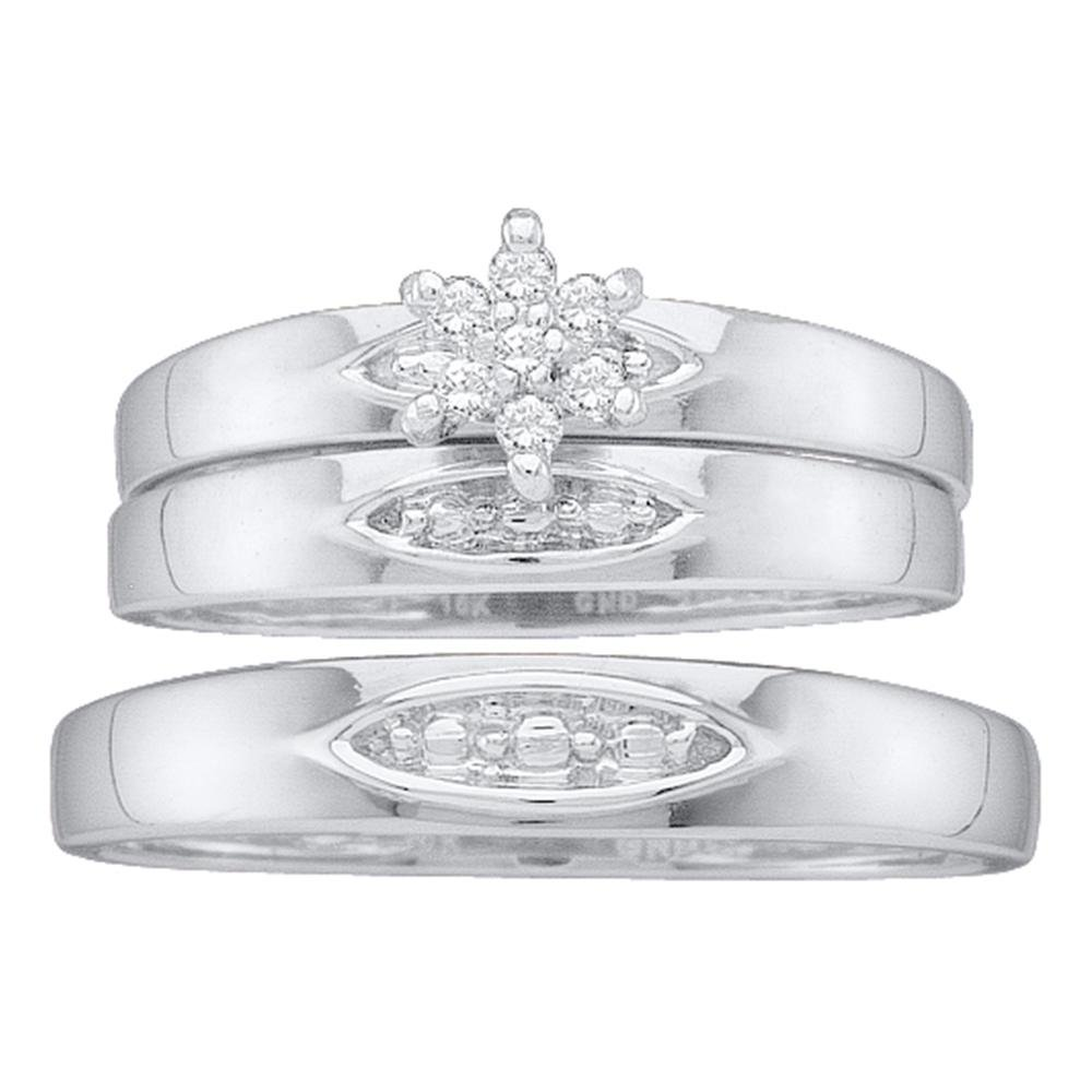 10kt White Gold His & Hers Round Diamond Cluster Matching Bridal Wedding Ring Band Set 1/12 Cttw
