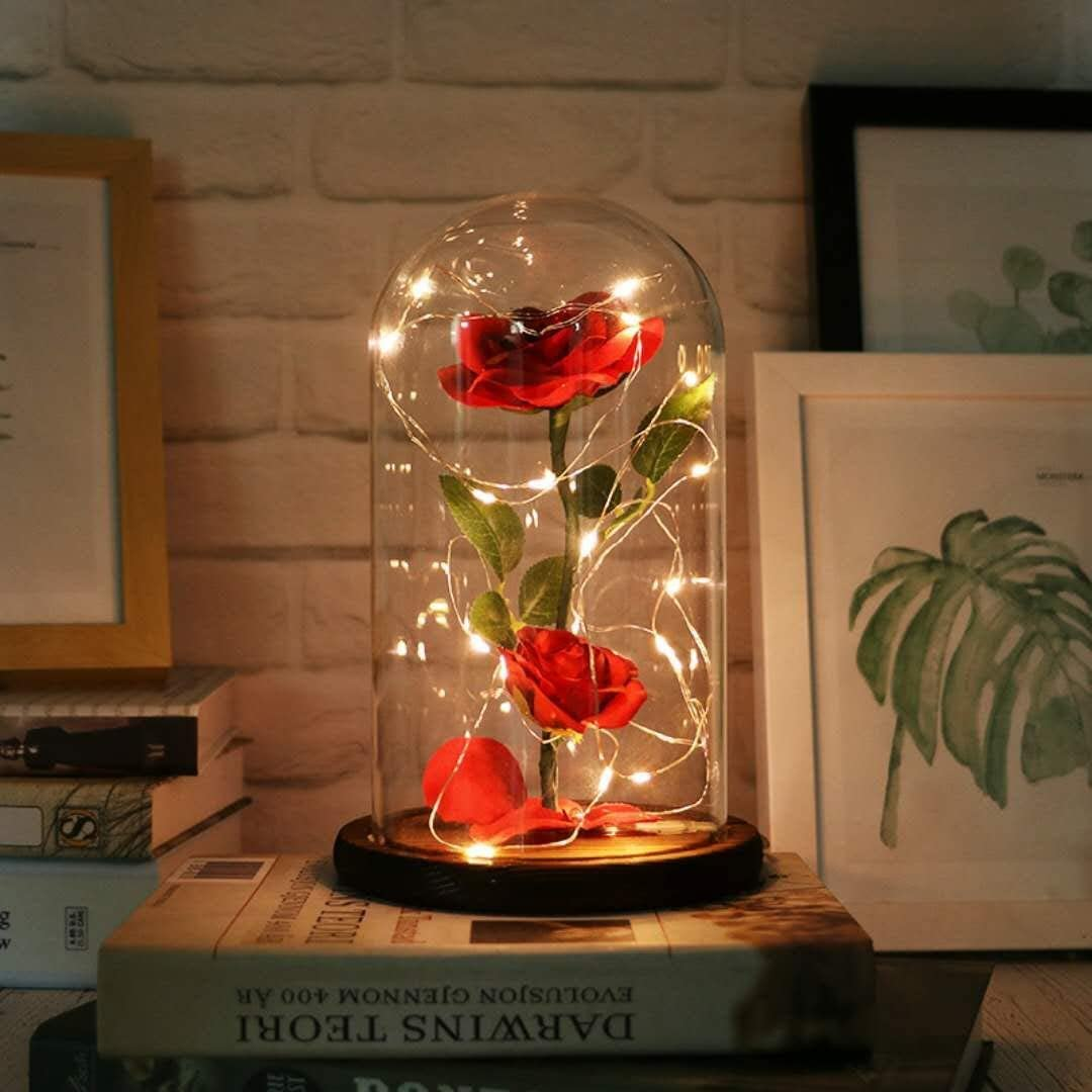 URBANSEASONS Beauty and The Beast Rose ,Rose Kit, Red Silk Rose and Led Light with Fallen Petals in Glass Dome on Wooden Base Valentine's Day Anniversary Birthday