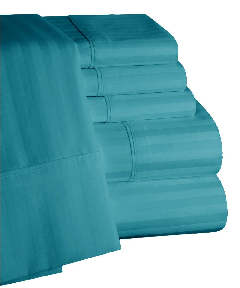 Mellanni 100% Egyptian Cotton Striped Bed Sheet Set - 450 Thread Count Sateen Luxury Bedding - 6 Piece (Queen, Ocean Blue)
