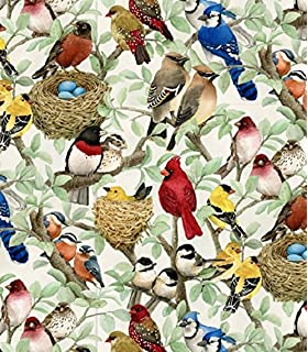 Amazon Com Ambesonne Nature Fabric By The Yard Birds Wildlife