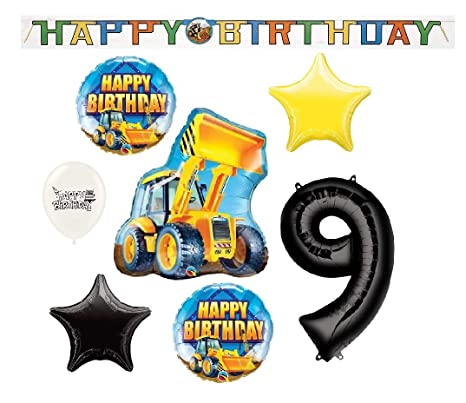 Image Unavailable Not Available For Color Celebration Banner Happy 9th Birthday Construction Loader Truck Balloons Bundle
