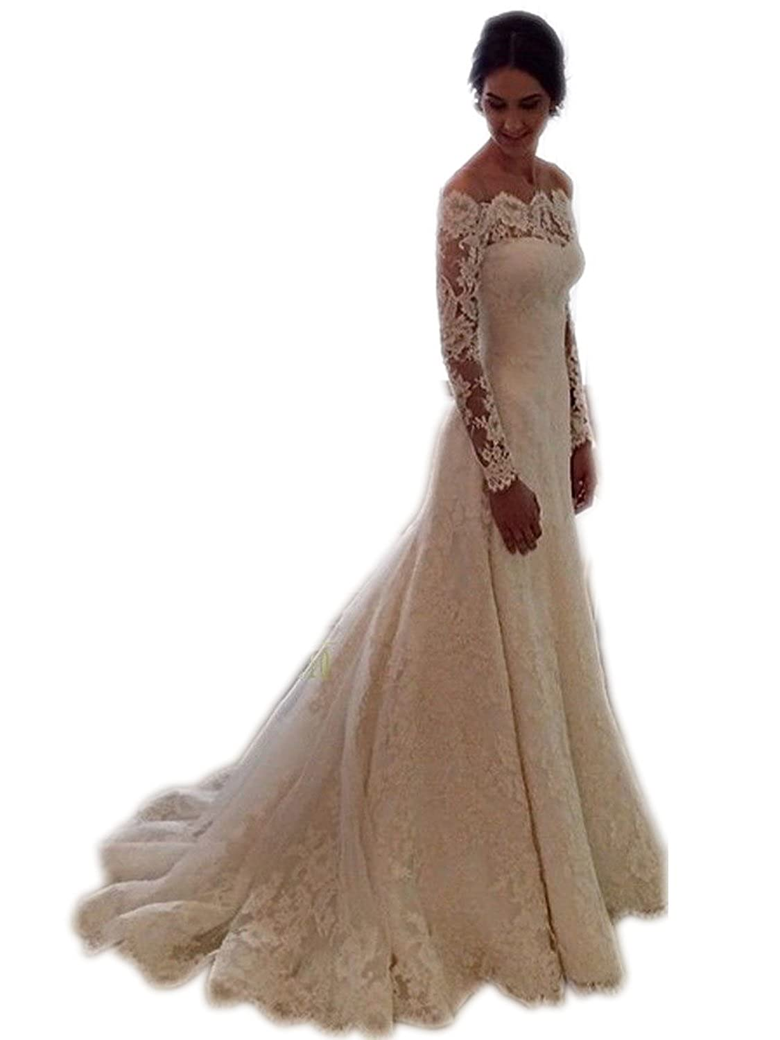 SDRESS Women's Off-The-Shoulder Long Sleeve Sweep Train Lace Bridal Wedding Dress