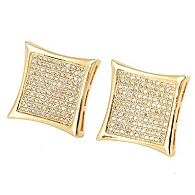 87771eda1 Amazon.com: Mens 14k Gold Plated Hip Hop Kite Screw Backs Earrings Iced Out  8 Rows(15mmx15mm): Jewelry