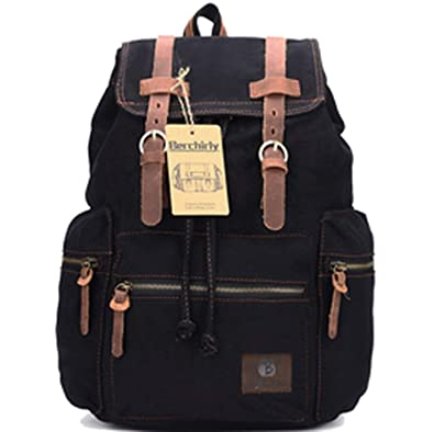 996ed1f101 Vintage Leather Military Backpacks Men Women School Backpacks men Travel bag  big Canvas Backpack Large