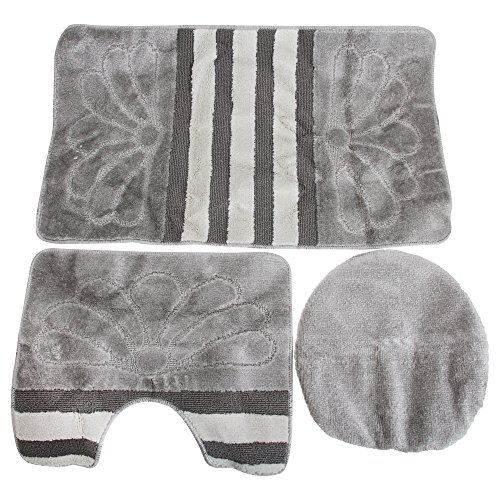 - Universal Textiles 3 Piece Stripe & Flower Pattern Design Bathroom Mat Set (42in x 24in) (Silver)