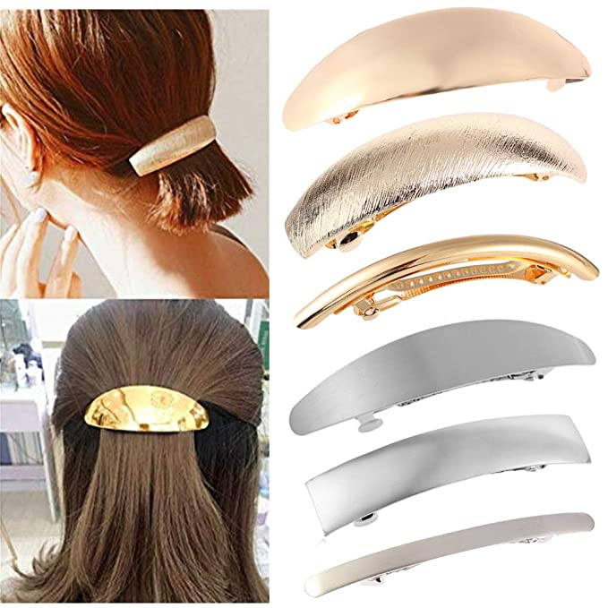 Details about  /Flower Metal French Clip Hair Barrette 70MM Clip Made in USA 6051S