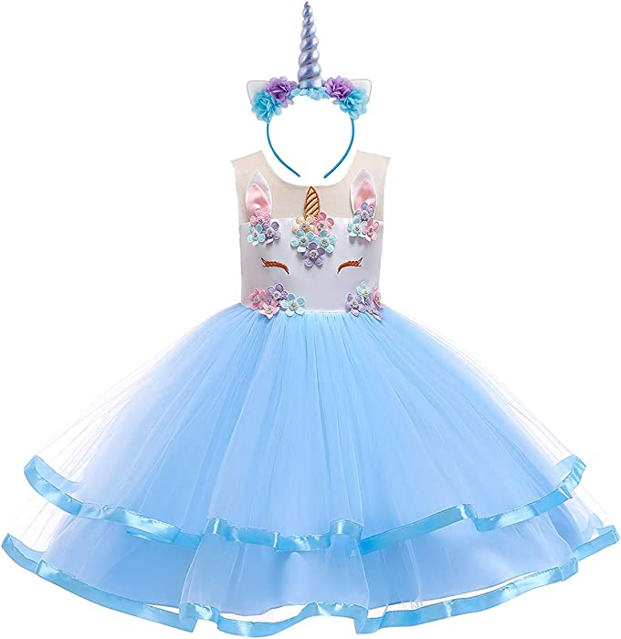 UK Baby Kids Girls Sleeveless Unicorn Floral Peinted Princess Party A-Line Dress