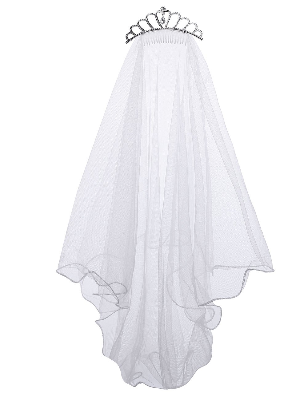 Flower Girls White Catholic Religious First Communion Veil Headband with Bow (One size, White (Crown))