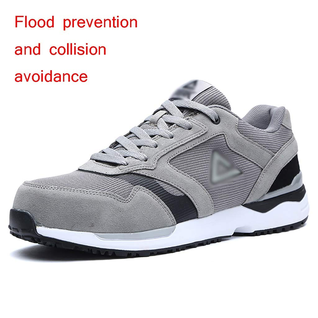 B Work shoes Men's safety shoes   anti-smashing anti-collision predection shoes   steel toe cap safety boots, rubber outsole non-slip, wear-resistant fashion work boots   flannel + mesh breathable deodo