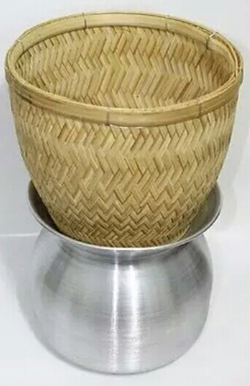 Thai Sticky Rice Steamer Handcraft Cook Thai Food Manu (Basket and Pot) by Tungyashop