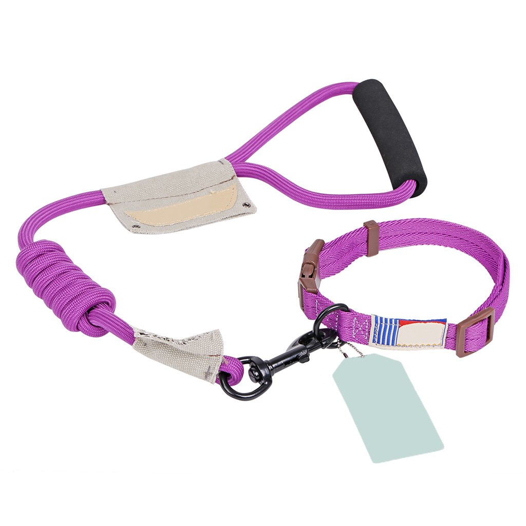 Purple LGWM Leashes Pet Harness, Leash, Collar, Round Rope, Small, Medium, Large Dog, Dog Leash, Dog Chain, Pet Supplies (color   Black, Size   M)