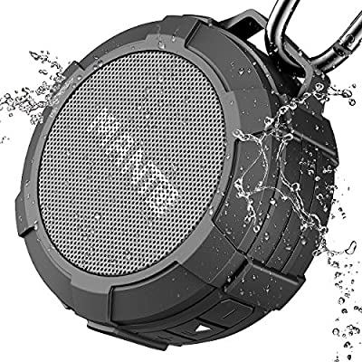 Bluetooth Speaker MANTO Portable Wireless Mini Waterproof Stereo Sound System for Shower, Outdoor Hiking, Camping, Cycling - Grey