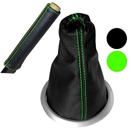 AERZETIX Funda para palanca de cambios 100/% Piel Genuina negro Costuras de color verde