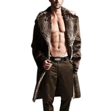 Amazon Com Zerorun Faux Fur Coat Mens Winter Long Jacket Warm