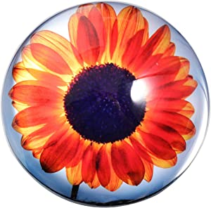 HANUR K9Crystal Paperweight Daisy Flower Globe Hemisphere Table Decoration Office Supplies 2.7'' (orange)