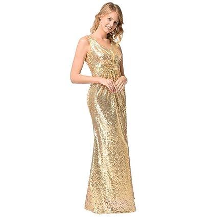 862a3d133fc Onfly Women V Neck Sleeveless Sequin Party Dre Maxi Dress Elegen Golden  Zipper Beads Bling Mermaid Prom Dress High Waist Ruffled Bridesmaid Dress  Eu Size S- ...
