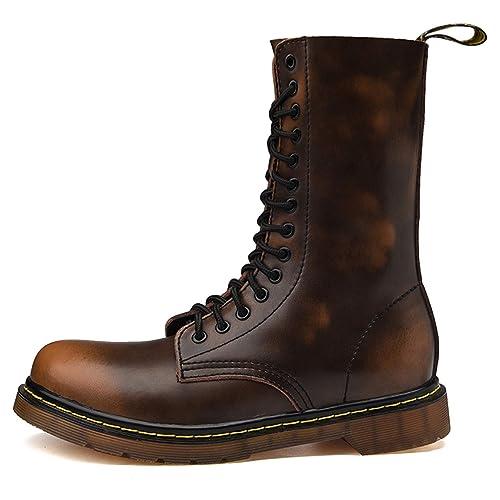 TQGOLD Botas de Cuero Hombre Otoño/Invierno Botines de Piel para Mujer: Amazon.es: Zapatos y complementos