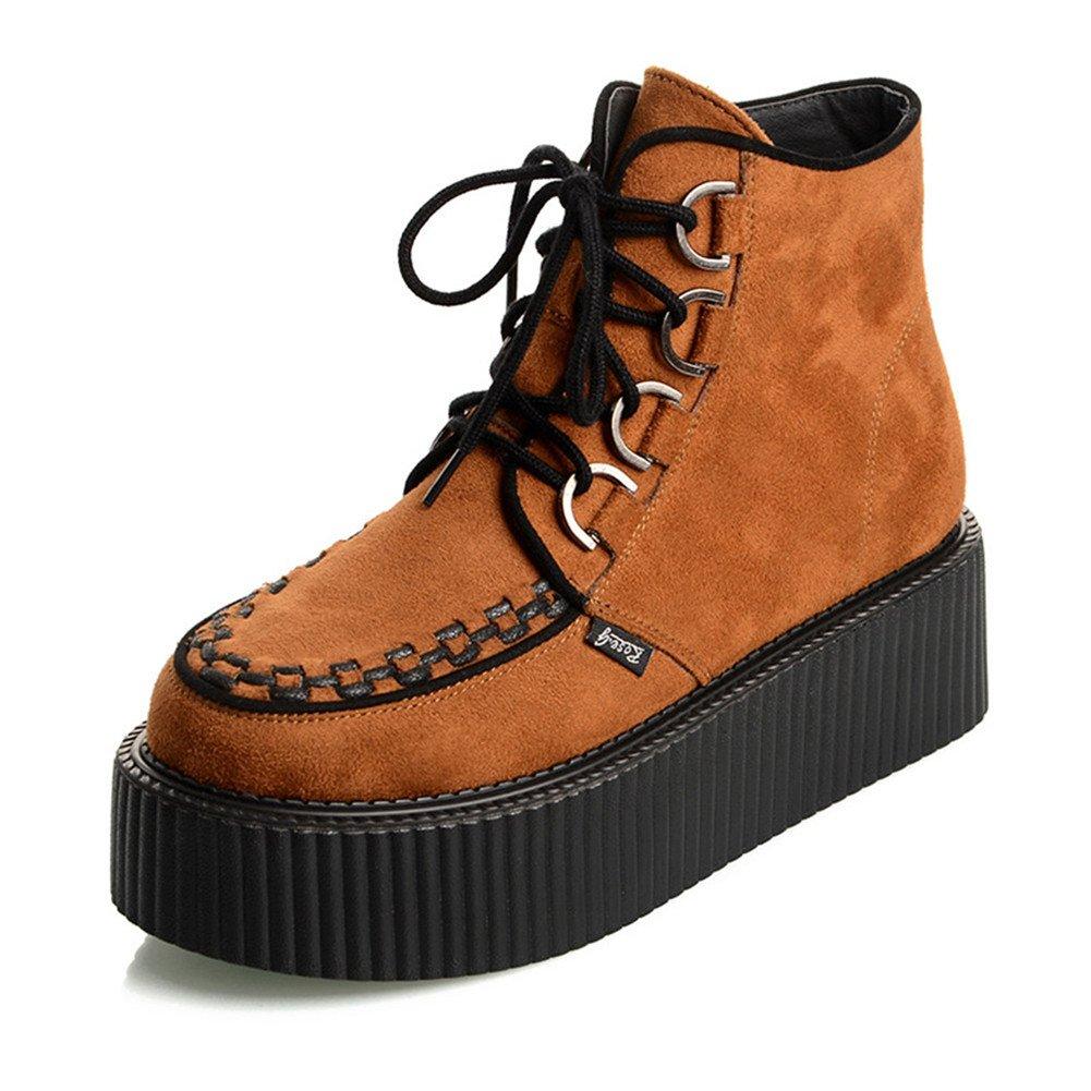 RoseG Women's High Top Suede Lace up Flat Platform Creepers Shoes Boots B075MJP61F 9.5 B(M) US|Orange