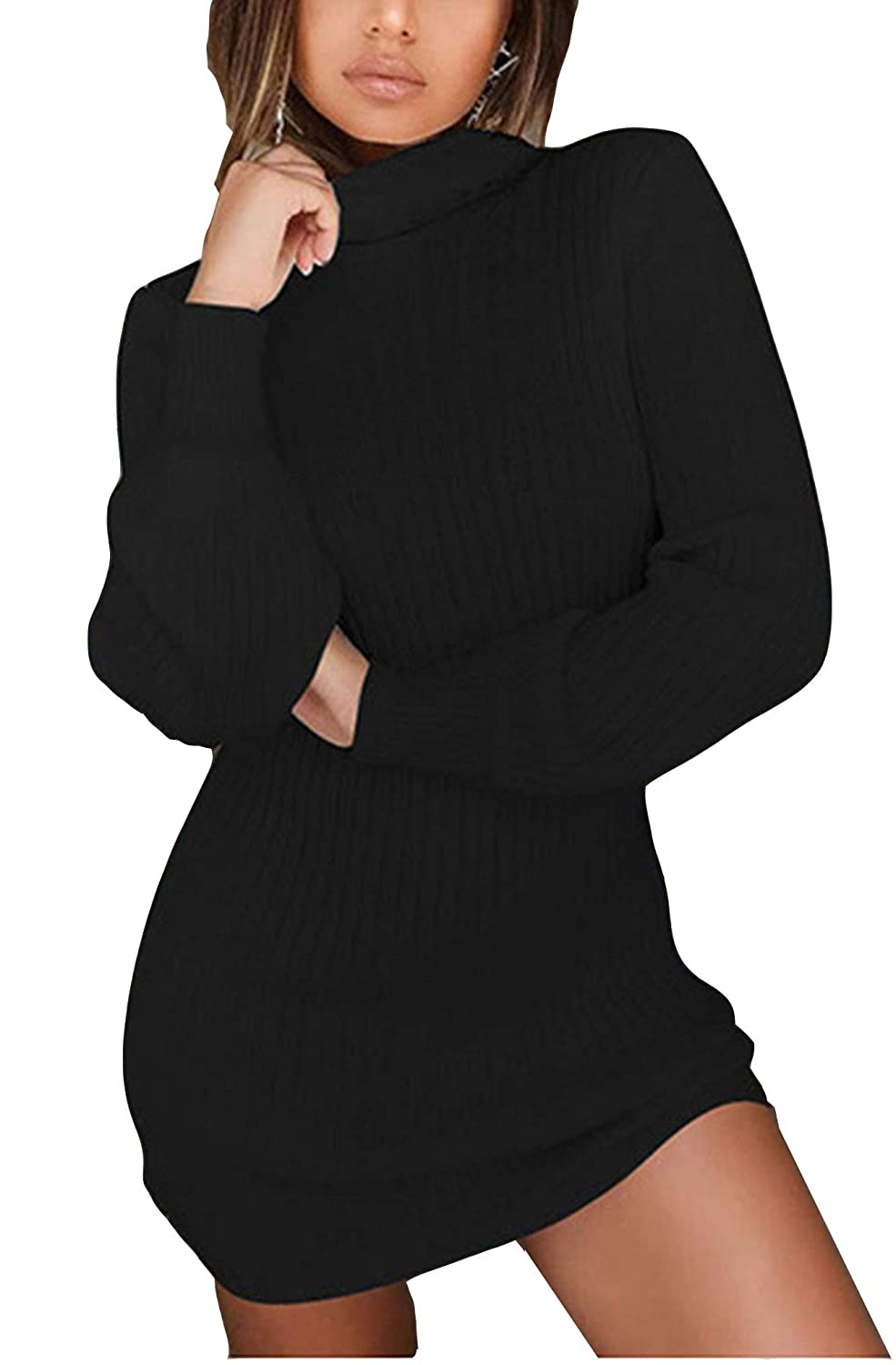 WentShopping Women Long Sleeve Cowl Neck Trim Knitted Bodycon Dresses  Knitwear at Amazon Women s Clothing store  61b5a0761