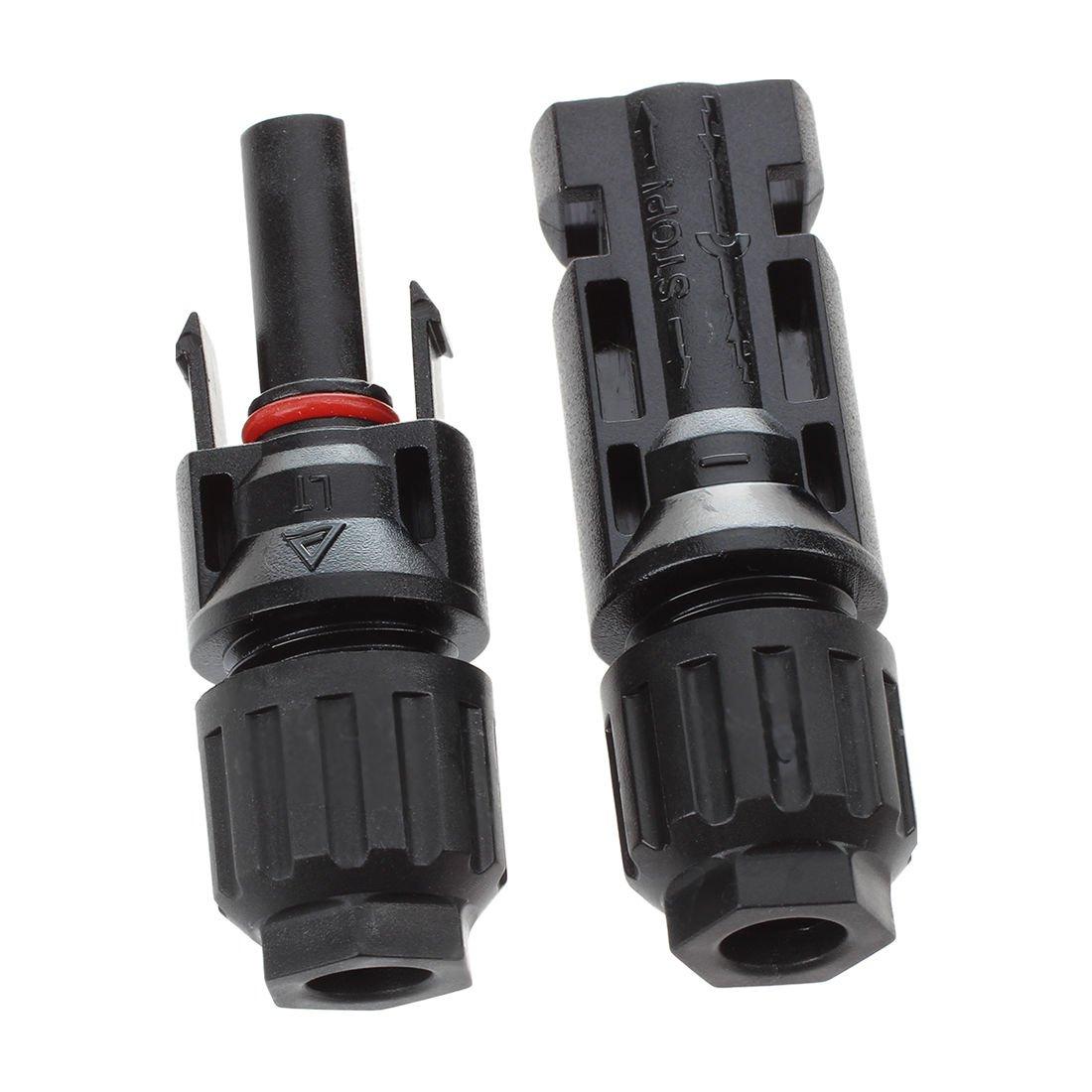SODIAL(R) 1 paire MC4 male + Female M/F Connecteurs Set pour PV Panneau solaire Cable Accessoires