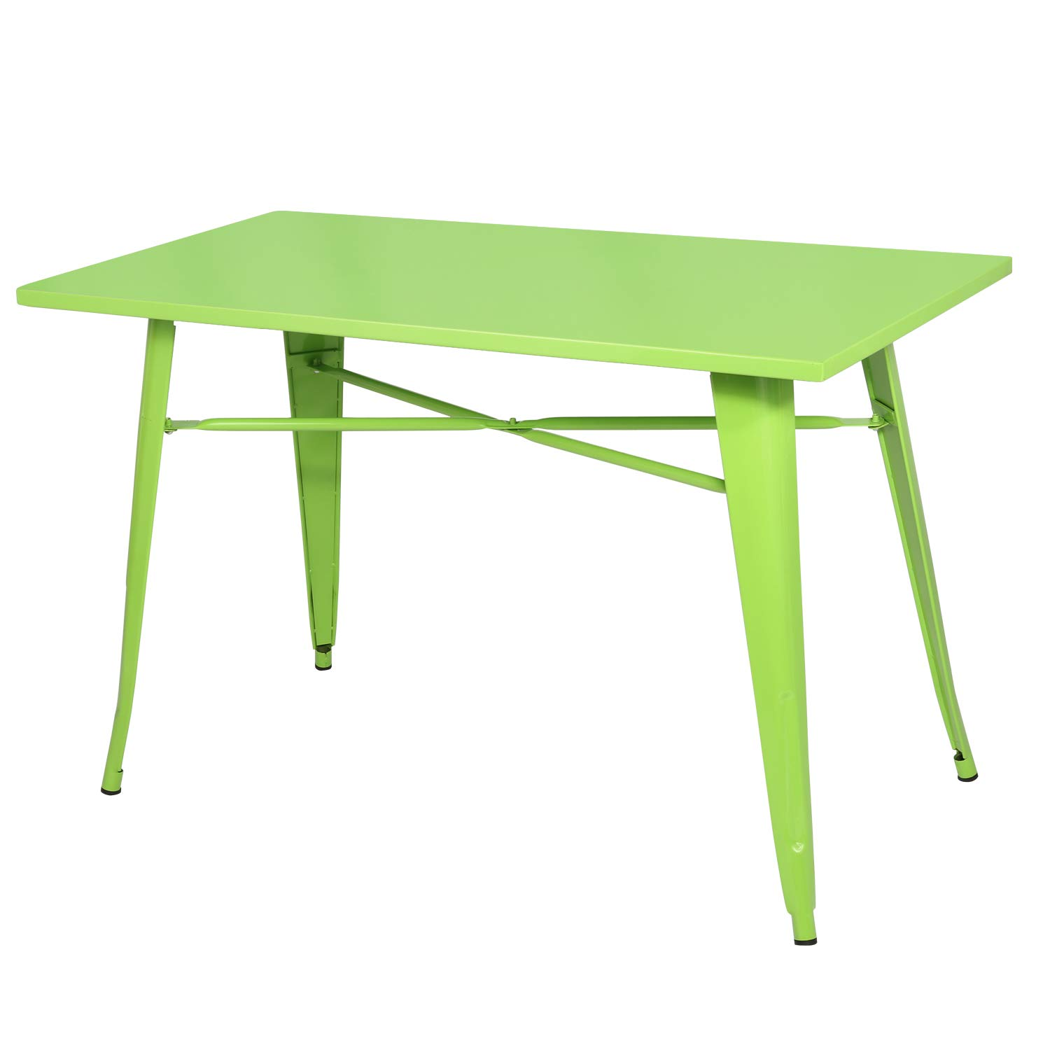 """VECELO Dining Kitchen Table Solid Metal Structure, Industrial Style, 47.2""""x 23.6"""", Green"""