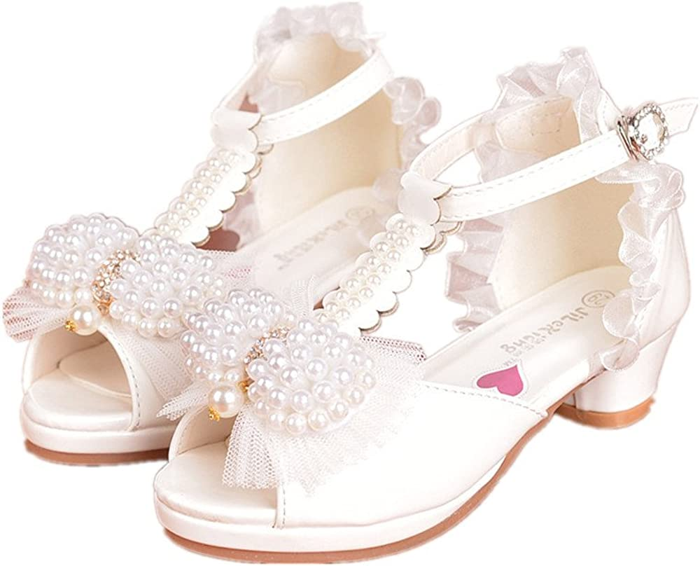 24XOmx55S99 Girls Bowknot High Heel Sandals Pearl Princess Shoes