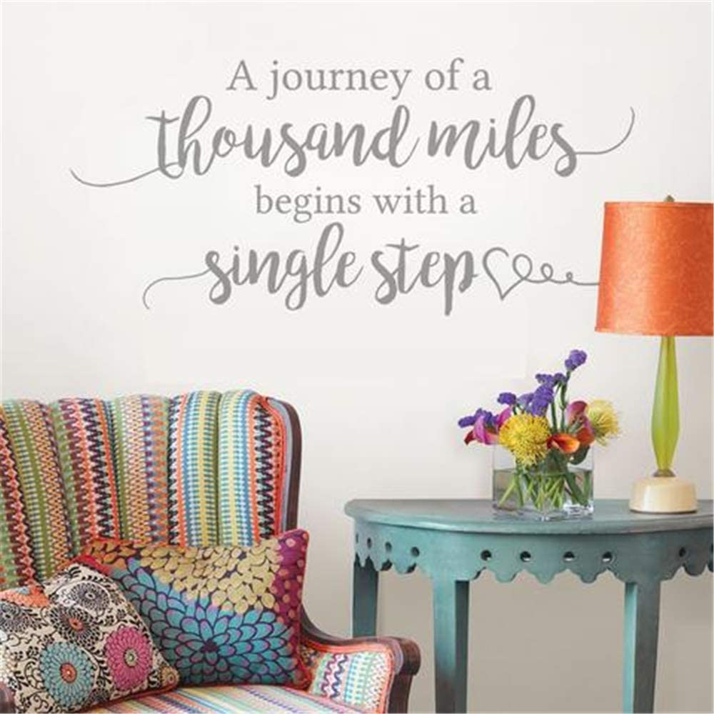 Wall Sticker Quotes Decals Decor Vinyl Art Stickers A Journey of A Thousand Miles Begins with A Single Step