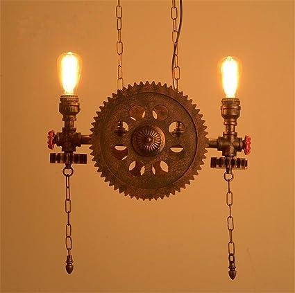 Lámparas de araña Lámpara de engranaje de madera colgante retro tubo de agua luces de techo