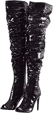black sparkle thigh high boots