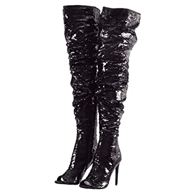 da4ee2ef969 Themost Womens Sequins Sparkly Mermaid Thigh High Over Knee High Heel Boots  Peep Toe Christmas Party
