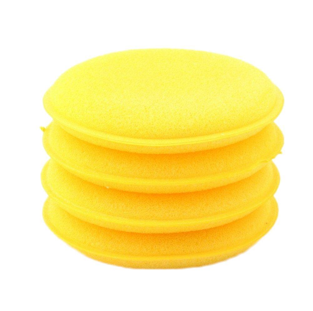 Doitsa 12 Pcs Waxing Polish Wax Foam Sponge Applicator Pads for Car Vehicle Auto Glass Cleaner Yellow Round