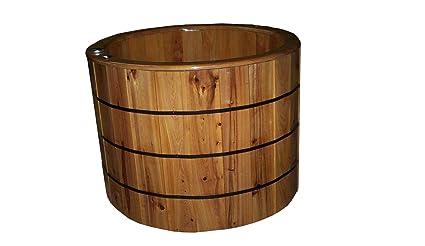 Wood Ofuro Barrel Bathtub In Cypress Soaking